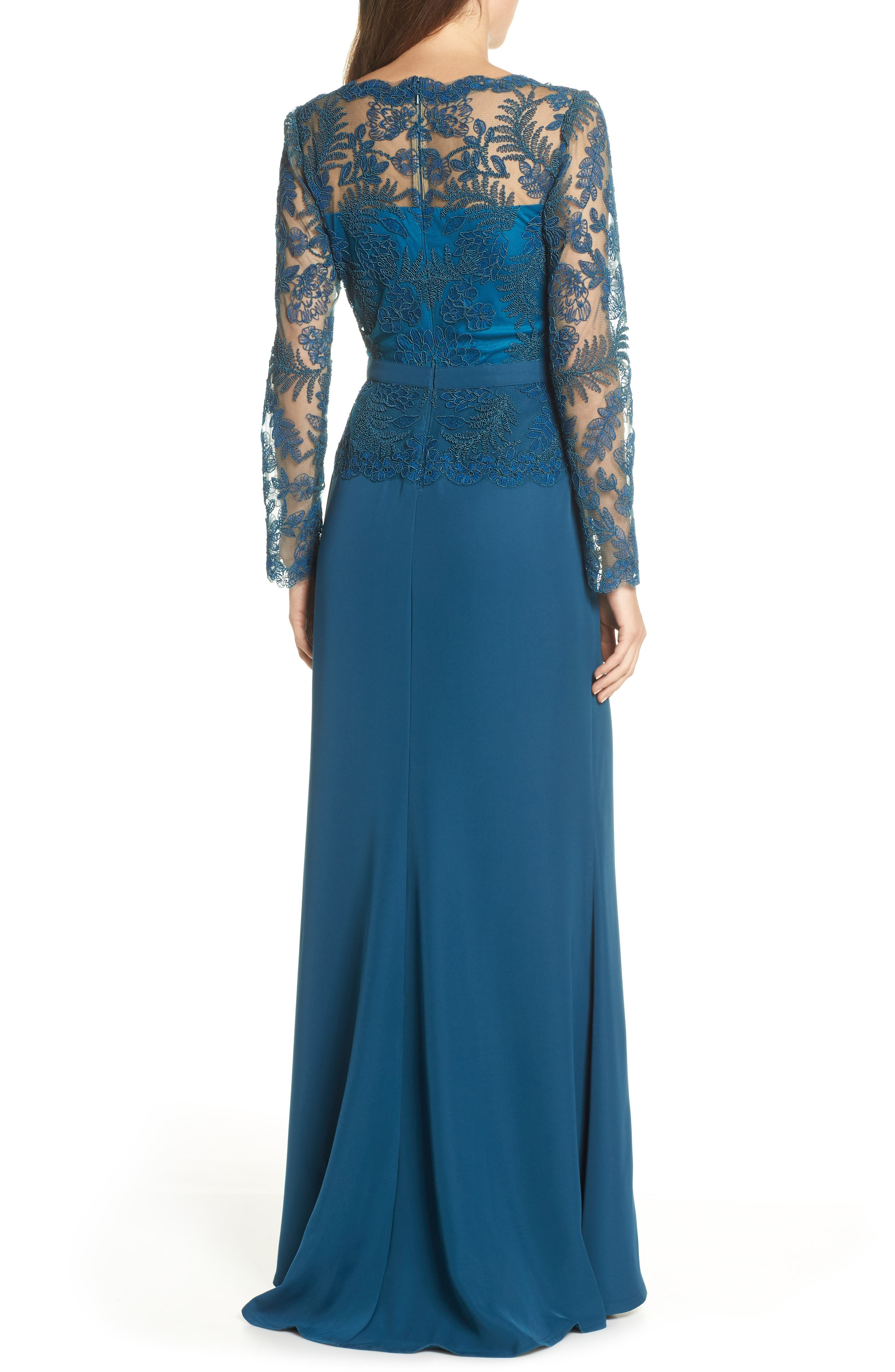 ,                             Lace & Crepe Long Sleeve Evening Gown,                             Alternate thumbnail 2, color,                             CERULEAN