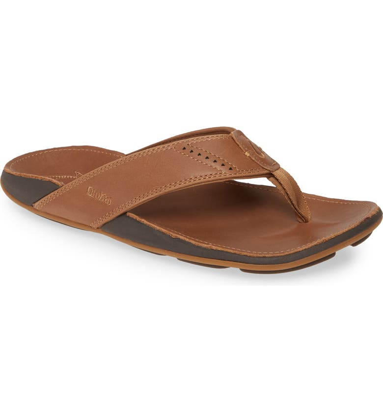 OLUKAI Wehi Nui Flip Flop, Main, color, TAN/ TAN LEATHER