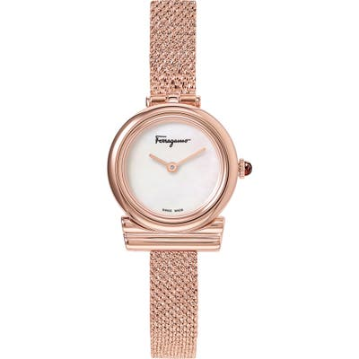 Salvatore Ferragamo Gancino Slim Mesh Strap Watch, 22Mm