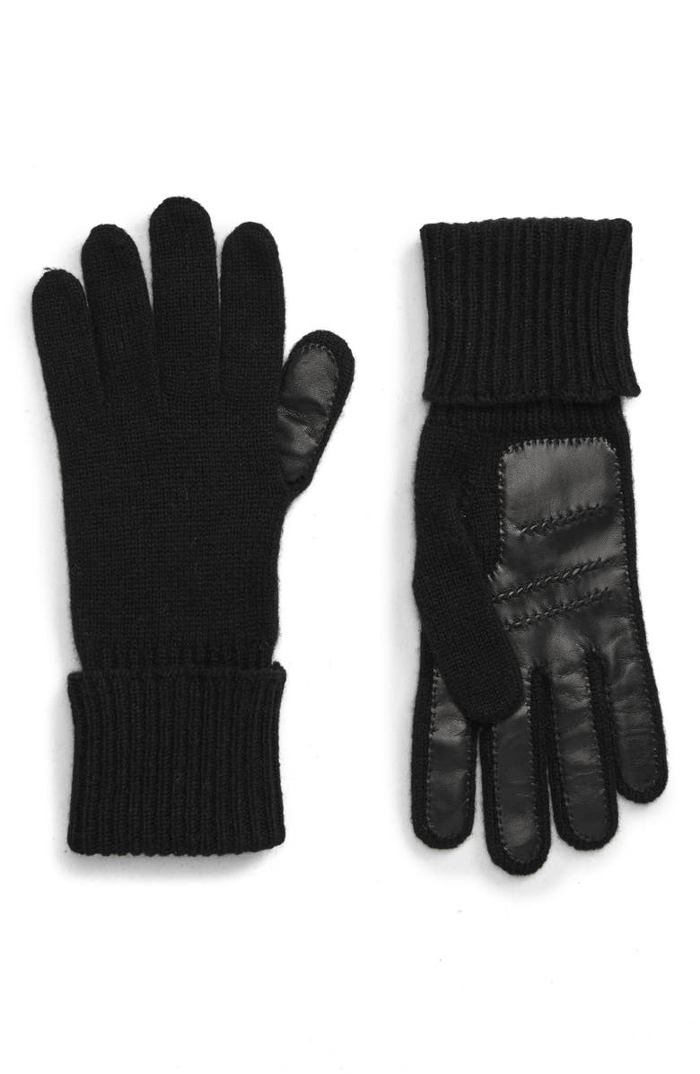 NORDSTROM SIGNATURE Leather Palm Cashmere Gloves, Main, color, BLACK