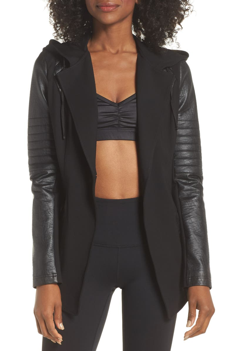 BLANC NOIR Hooded Moto Blazer with Faux Leather Sleeves, Main, color, BLACK