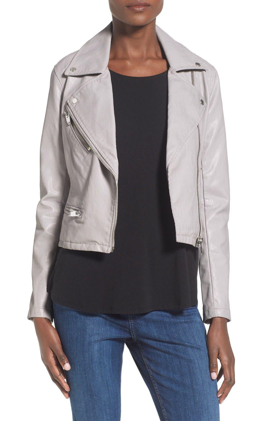 ,                             Faux Leather Moto Jacket,                             Main thumbnail 7, color,                             020
