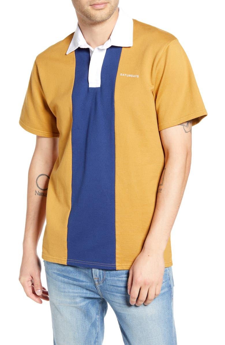 SATURDAYS NYC Jake Colorblock Short Sleeve Polo, Main, color, 458