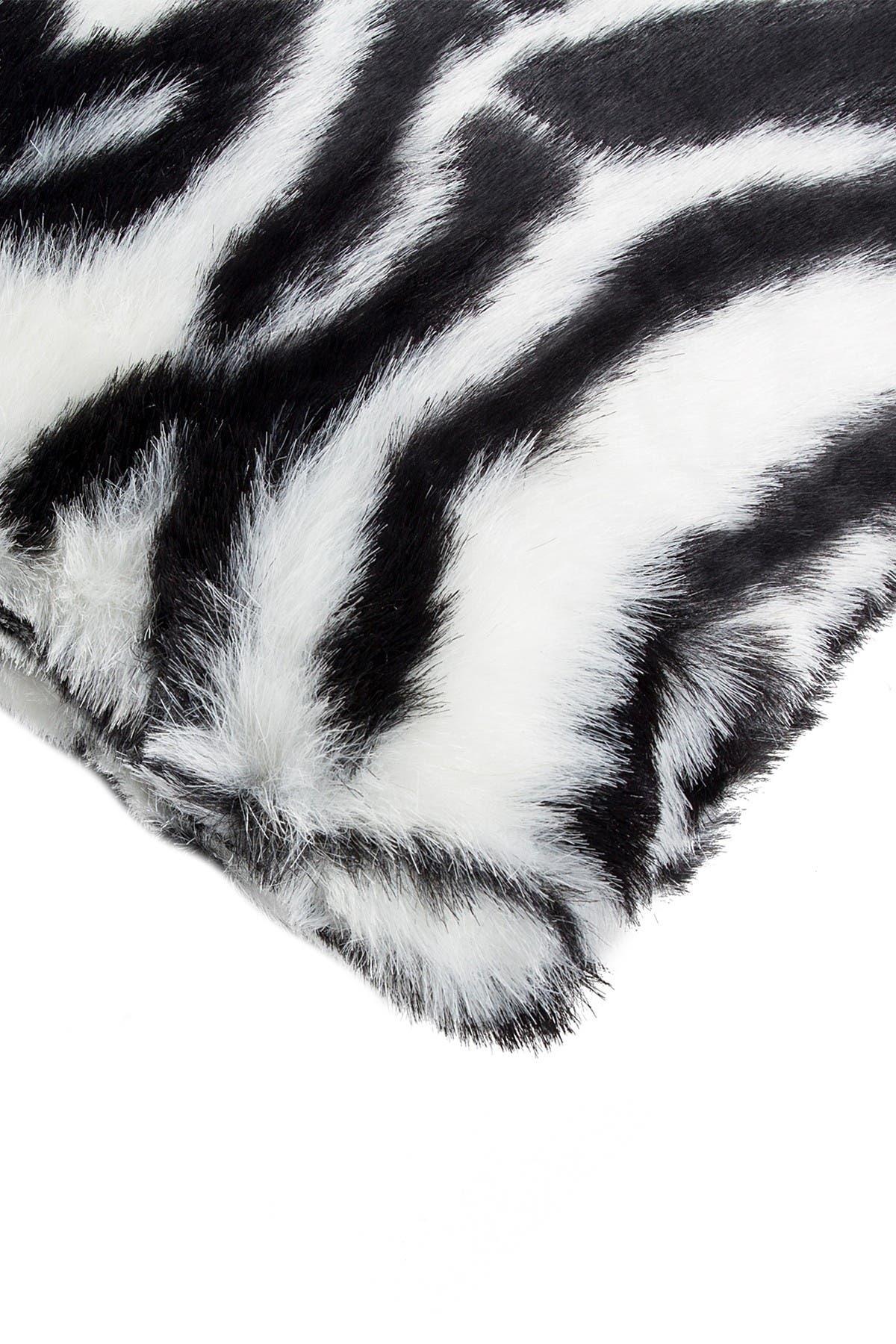 "Image of LUXE Belton Faux Fur Pillow - Set of 2 - 18"" x 18"" - Denton Zebra Black/White"