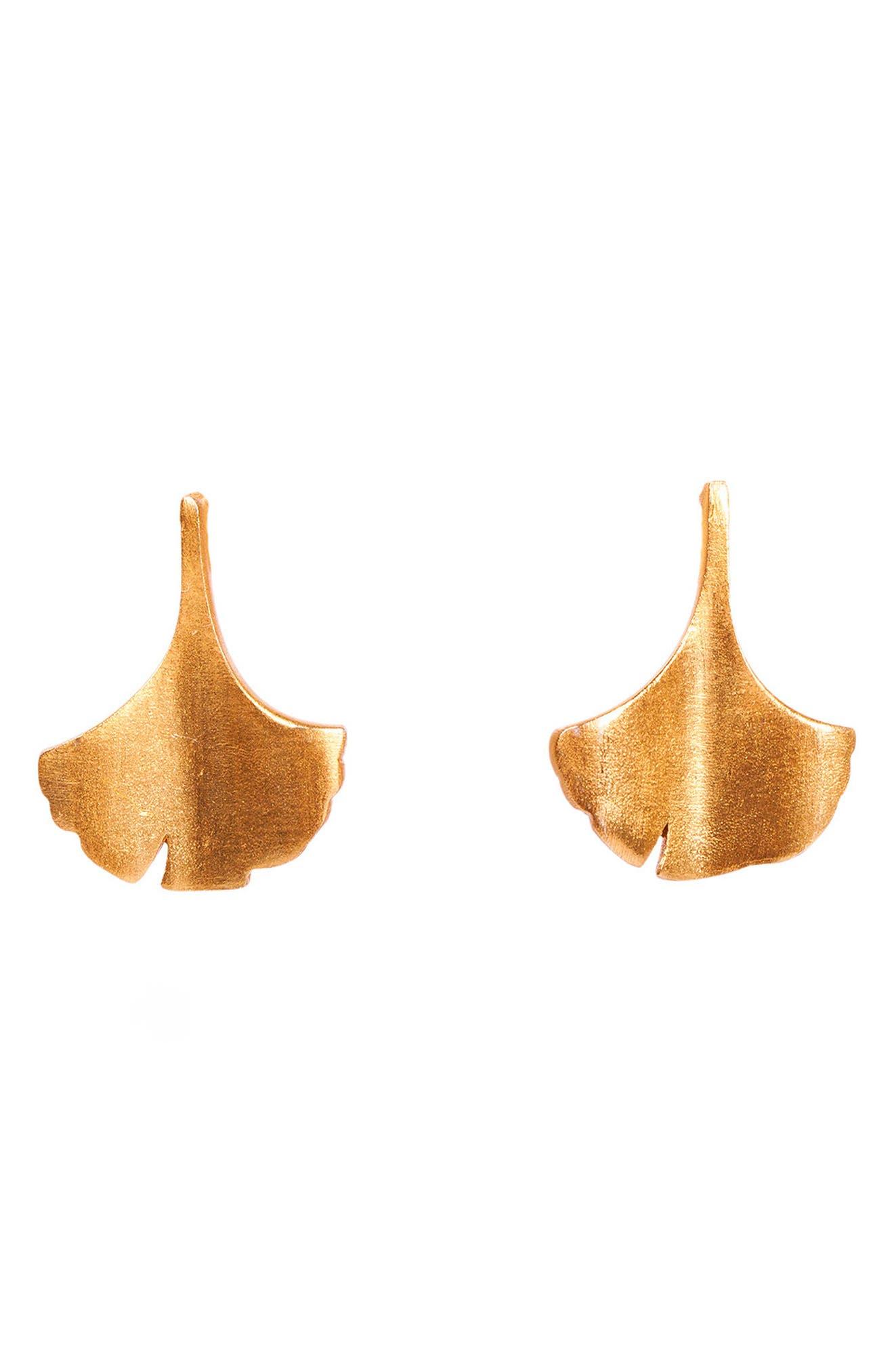 Ginkgo Stud Earrings
