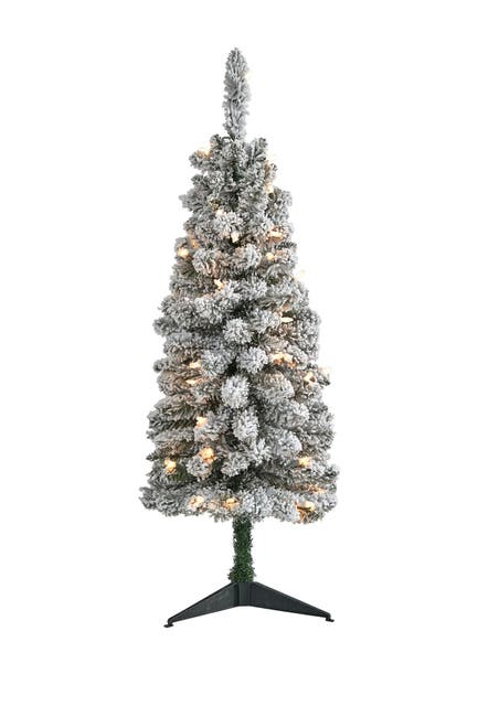 Image of NEARLY NATURAL 3ft. Flocked Pencil Artificial Christmas Tree with 50 Clear Lights