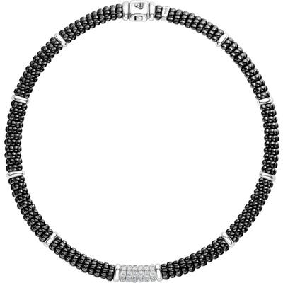 Lagos Black Caviar Diamond 6-Link Rope Necklace