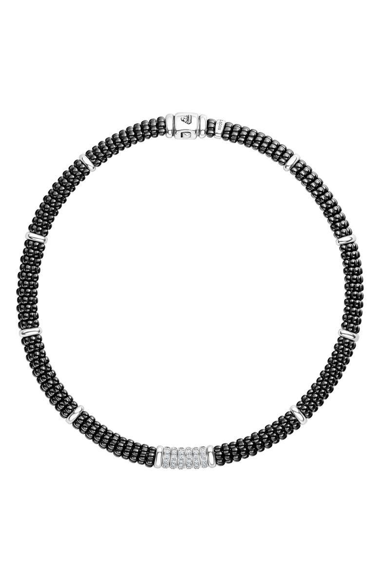 LAGOS Black Caviar Diamond 6-Link Rope Necklace, Main, color, SILVER/ BLACK