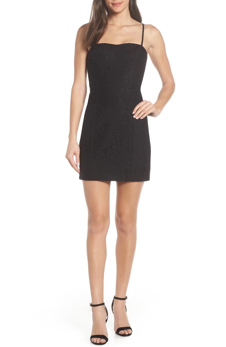 FRENCH CONNECTION Lace Sheath Dress, Main, color, 001