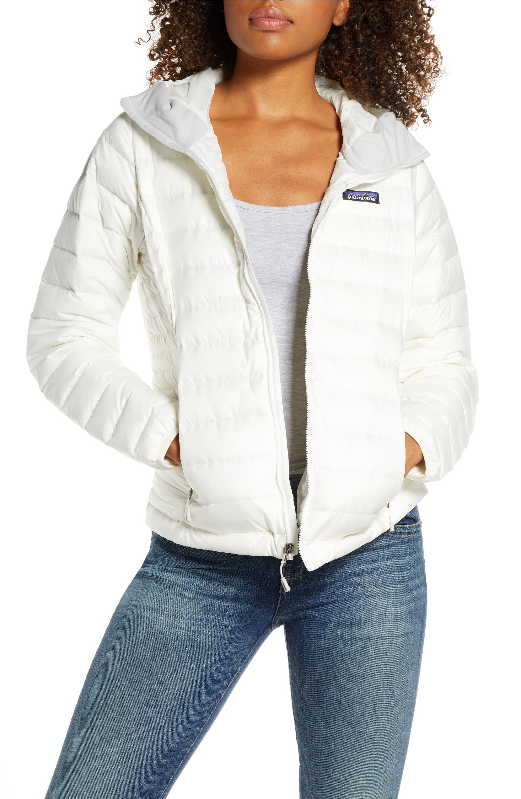 Quilted Water Resistant Down Coat, Main, color, BIRCH WHITE