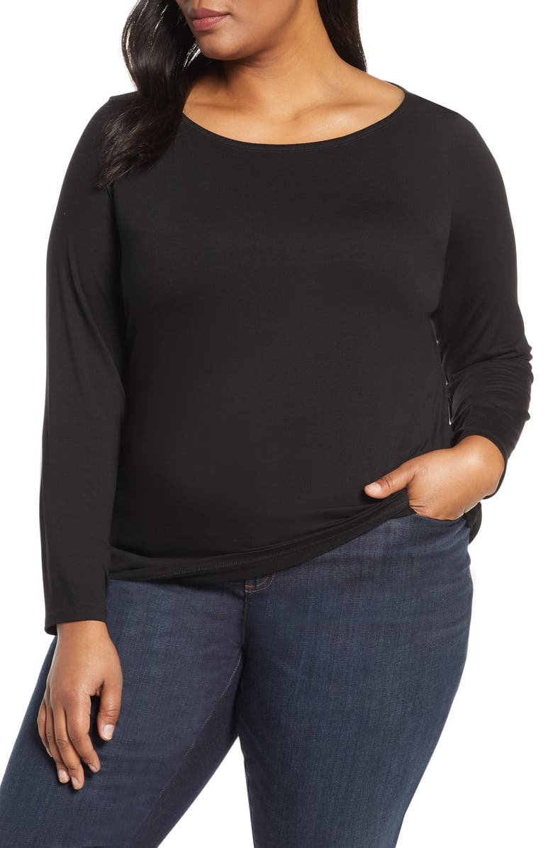 EILEEN FISHER Bateau Neck Slim Tencel<sup>®</sup> Lyocell Top, Main, color, BLACK