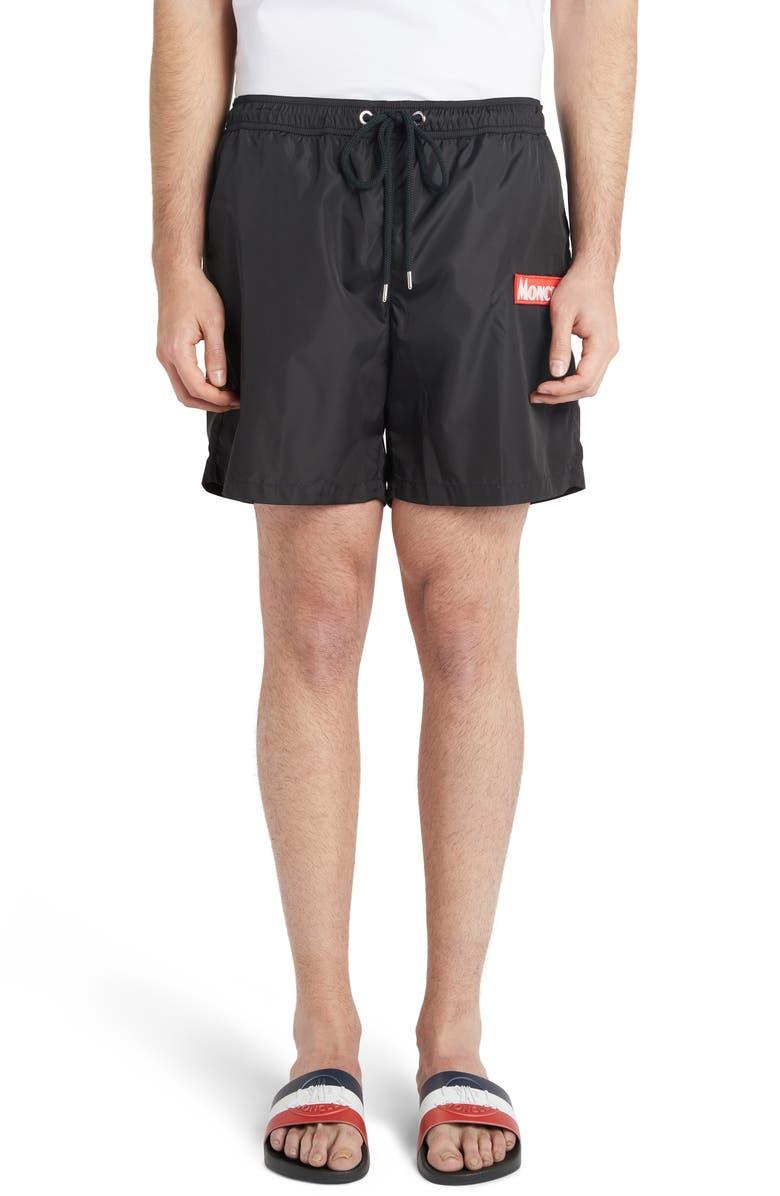 MONCLER Nylon Swim Trunks, Main, color, BLACK
