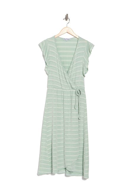 Image of Velvet Torch Faux Wrap Midi Dress