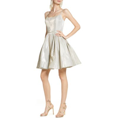 MAC Duggal Shimmer Fit & Flare Dress, White