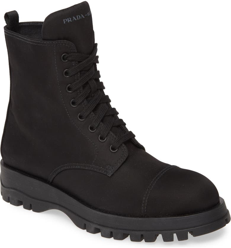 PRADA Nylon Combat Boot, Main, color, BLACK