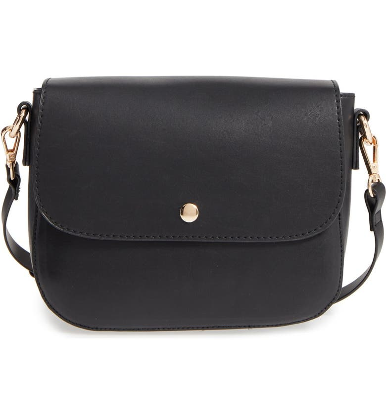 BP. Minimal Faux Leather Crossbody Bag, Main, color, 001