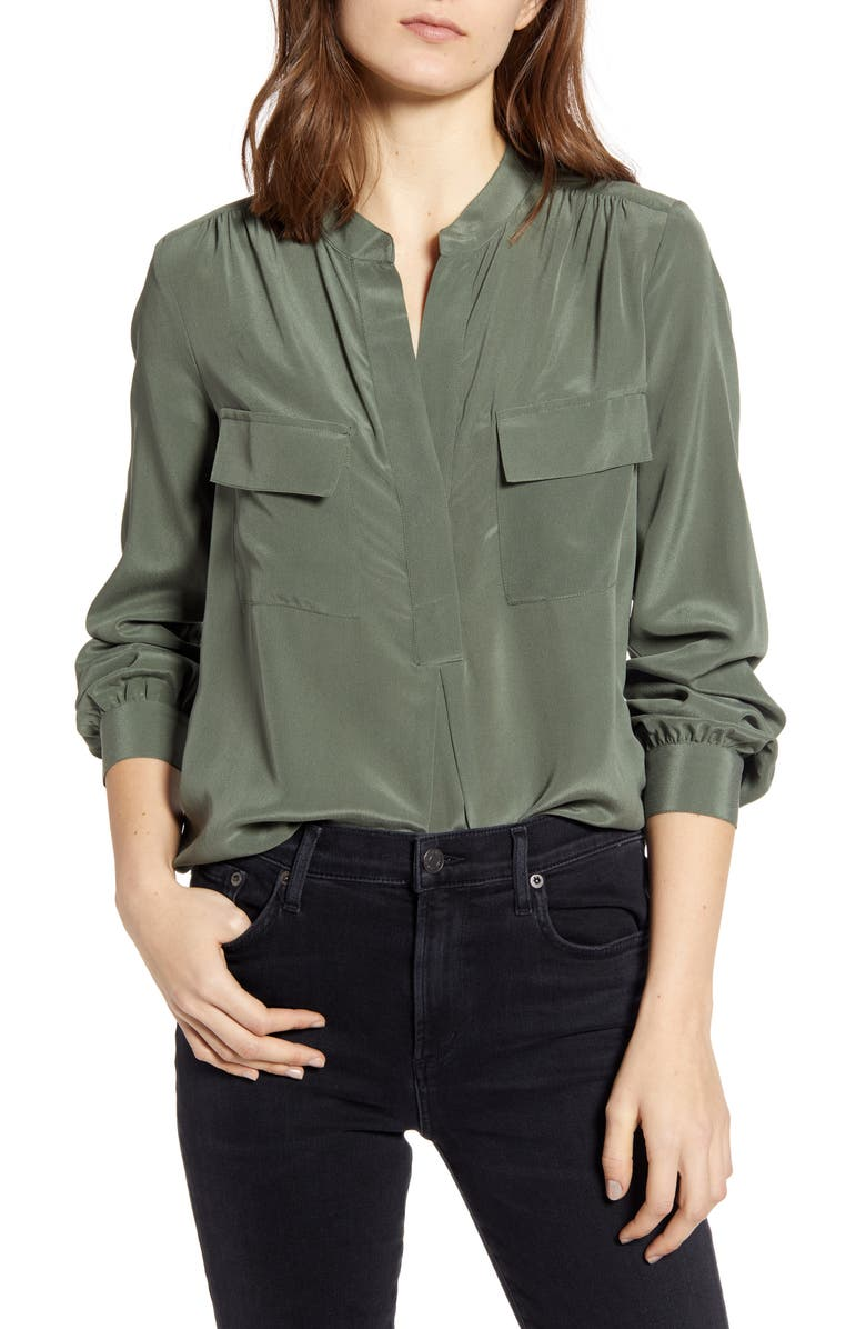 SPLENDID Split Neck Silk Shirt, Main, color, MOSS