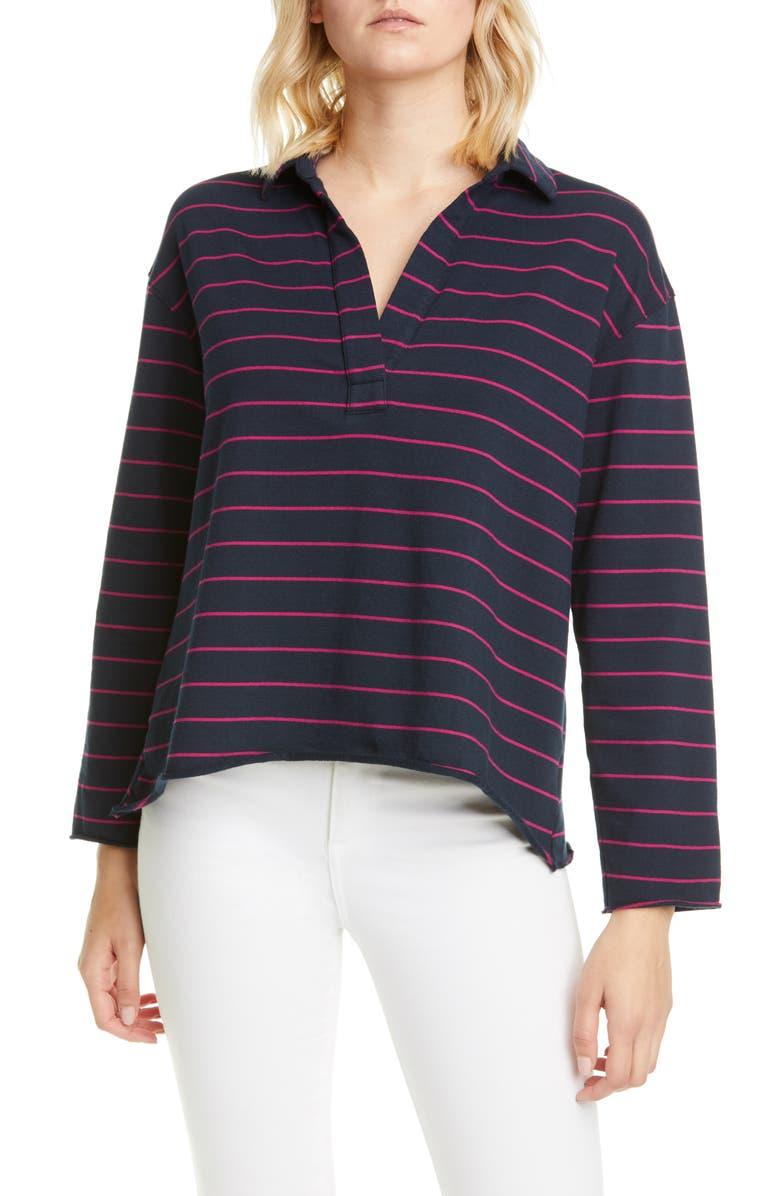 FRANK & EILEEN Stripe V-Neck Top, Main, color, ROYAL NAVY/ PRIMROSE STRIPE