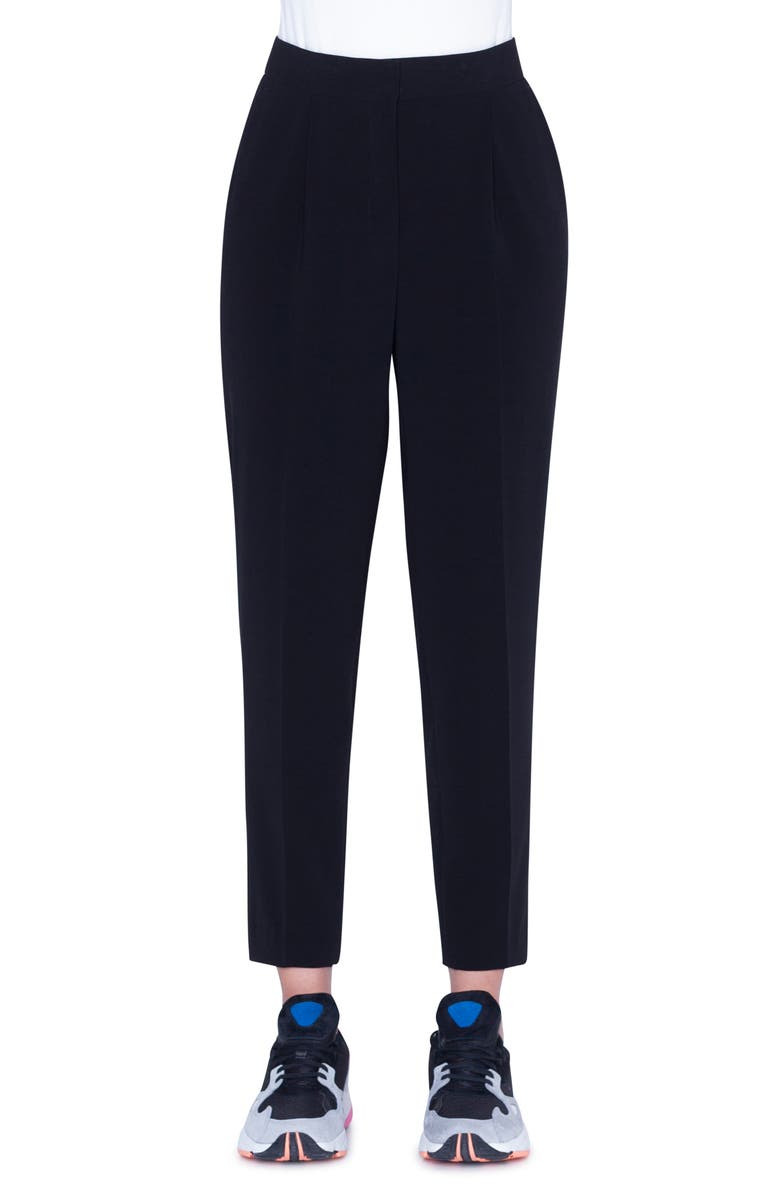 AKRIS PUNTO Maiko Crepe Ankle Pants, Main, color, BLACK