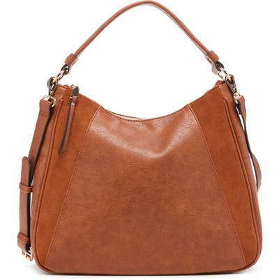 Sole Society Suede & Faux Leather Shoulder Bag - Brown