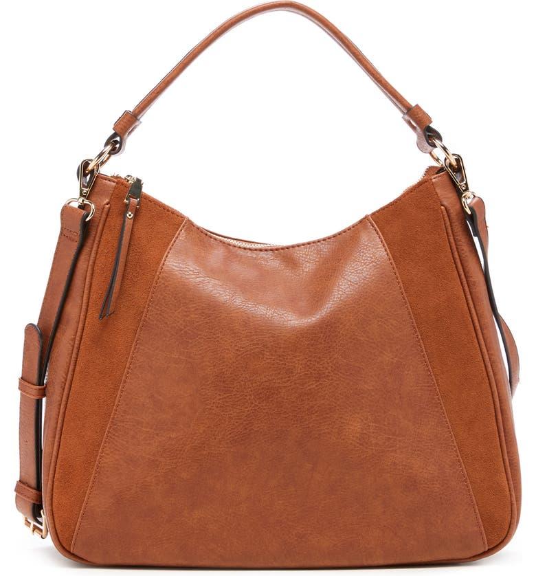 SOLE SOCIETY Suede & Faux Leather Shoulder Bag, Main, color, COGNAC