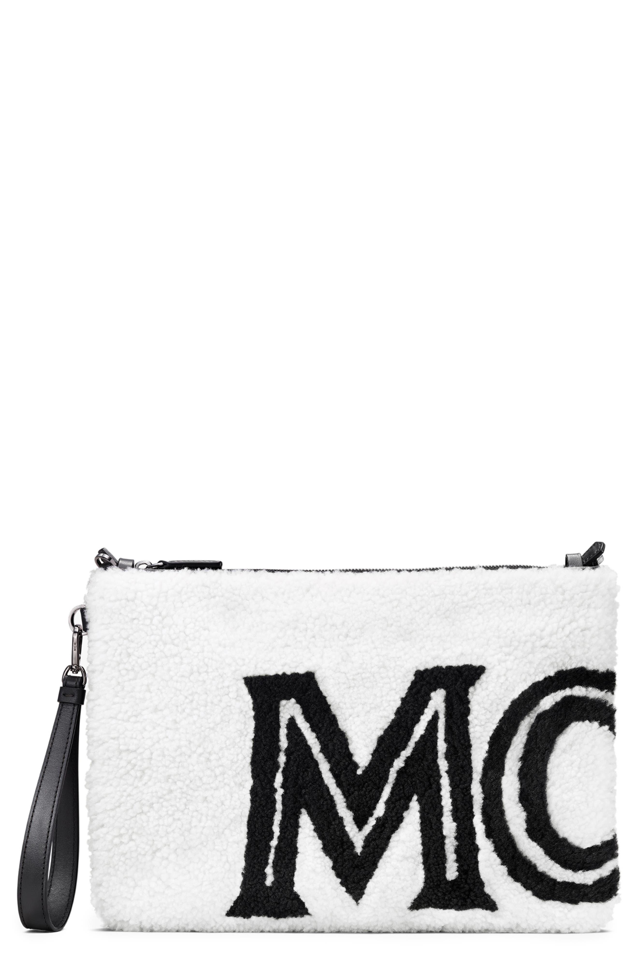 Mcm Clutch Contrast Logo Genuine Shearling Zip Pouch