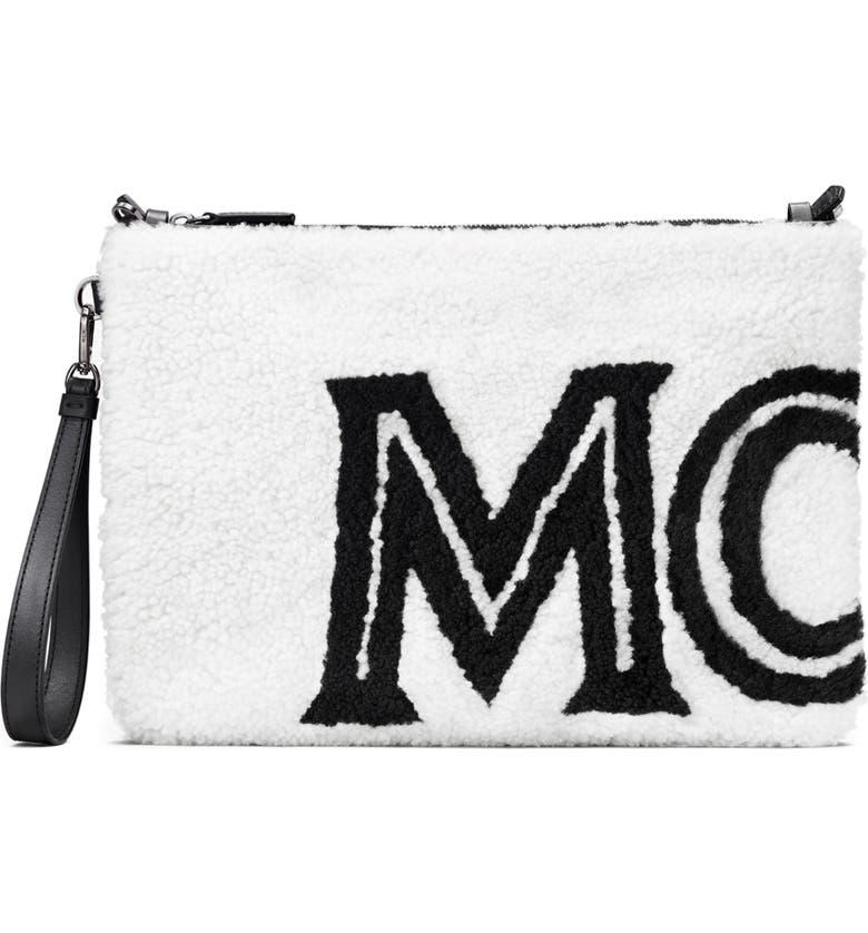 MCM Contrast Logo Genuine Shearling Zip Pouch, Main, color, CLOUD DANCER