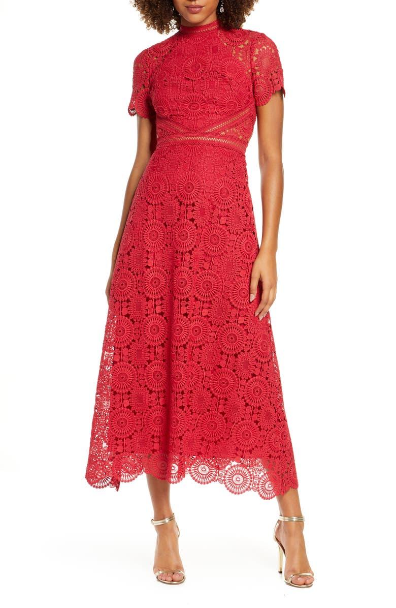 ML MONIQUE LHUILLIER Lace Midi Cocktail Dress, Main, color, LIPSTICK