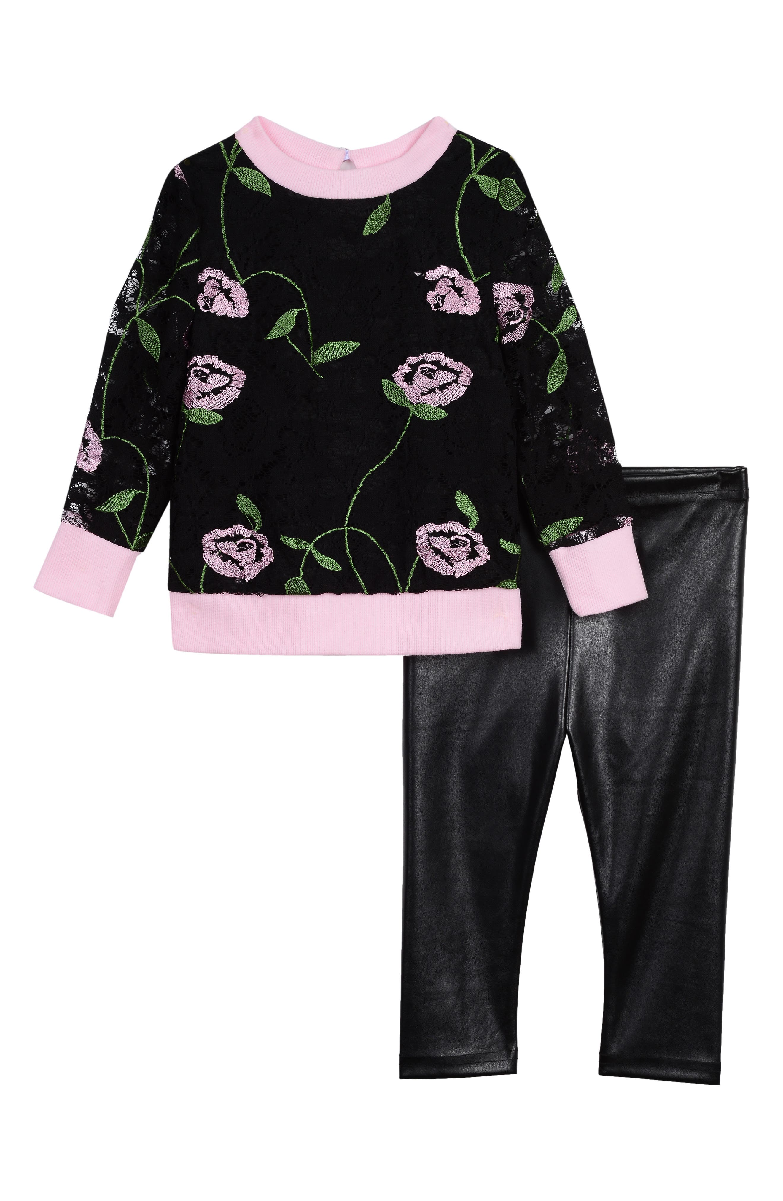 Infant Girls Pippa  Julie Embroidered Lace Top  Faux Leather Leggings Set