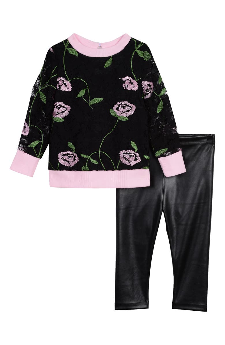 PIPPA & JULIE Embroidered Lace Top & Faux Leather Leggings Set, Main, color, BLACK/ PINK