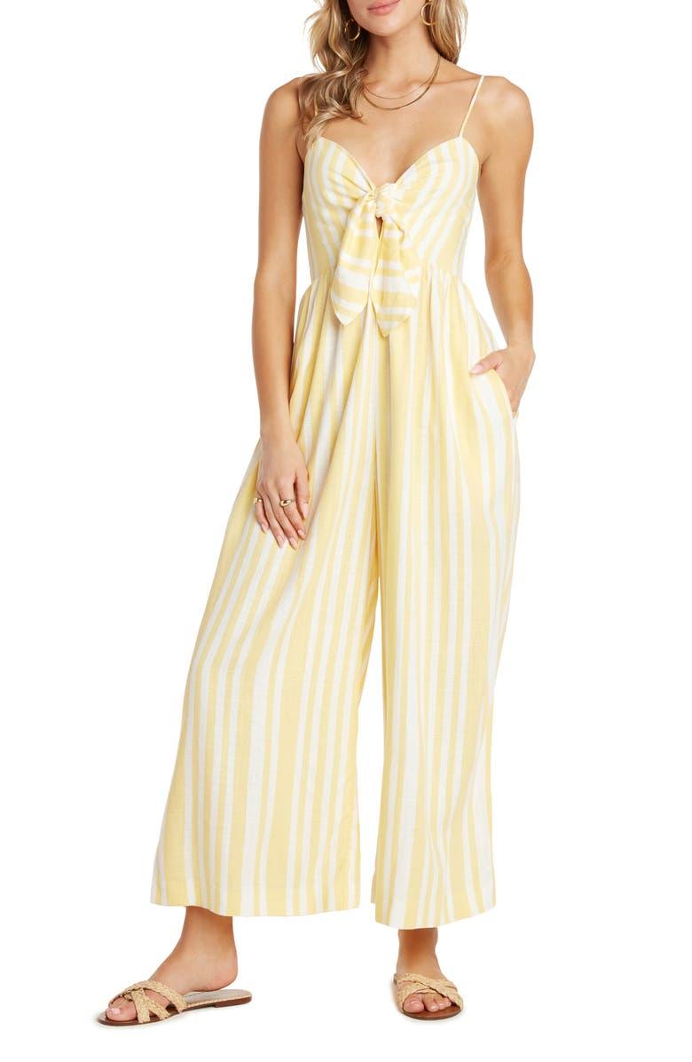 WILLOW Cindy Stripe Tie Front Jumpsuit, Main, color, LEMON