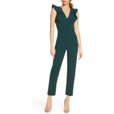French Connection Whisper Ruffle Jumpsuit, Green