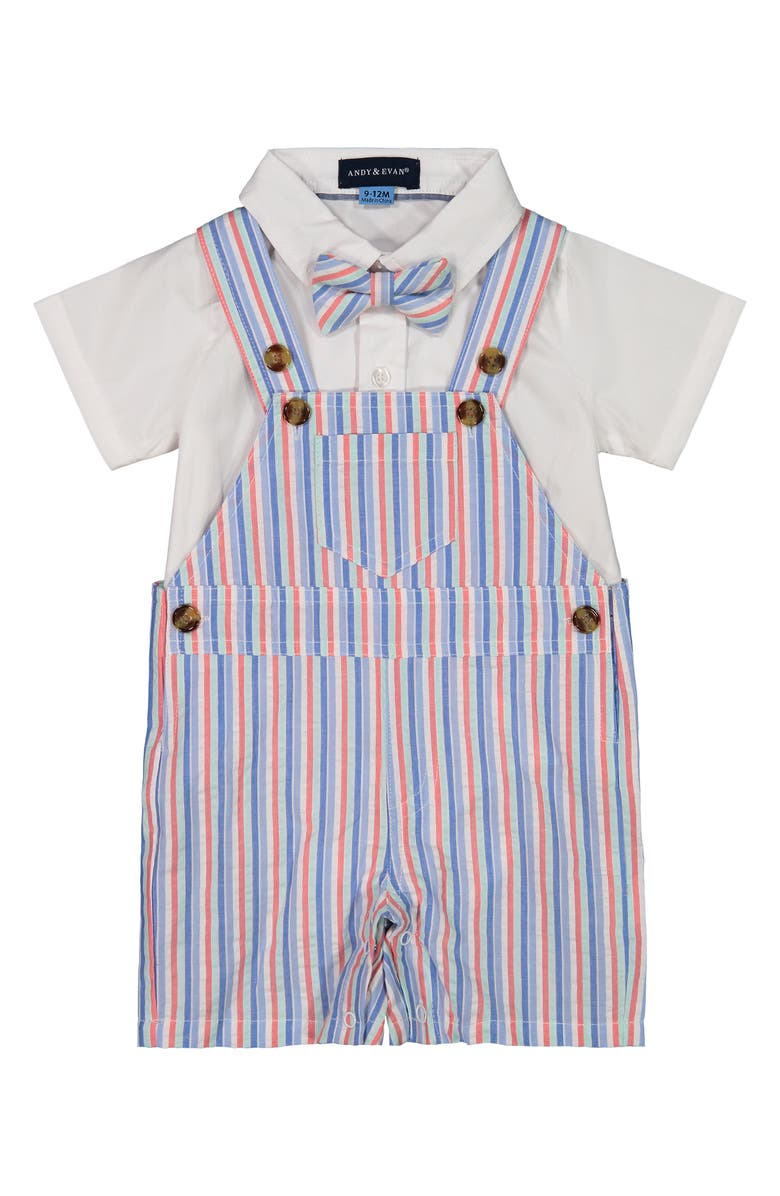 ANDY & EVAN Stripe Seersucker Short Overalls, Collared Bodysuit & Bow Tie Set, Main, color, WHITE/ SEERSUCKER