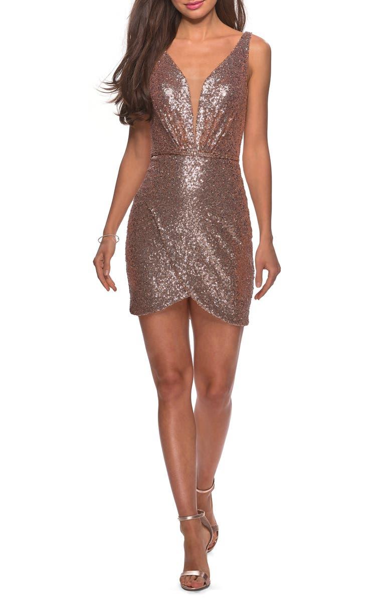 09b019474b La Femme Deep V Sequin Minidress | Nordstrom