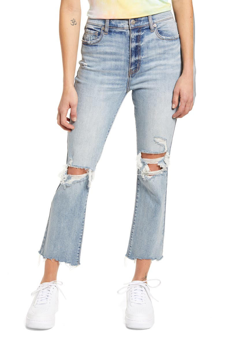 DAZE Shy Girl Ripped High Waist Crop Flare Jeans, Main, color, LIGHT BLUE