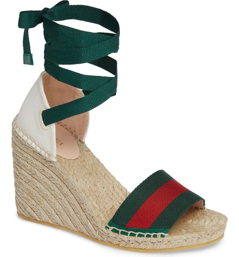 GUCCI Lilibeth Sylvie Web Espadrille Wedge Sandal, Main, color, WHITE/ GREEN