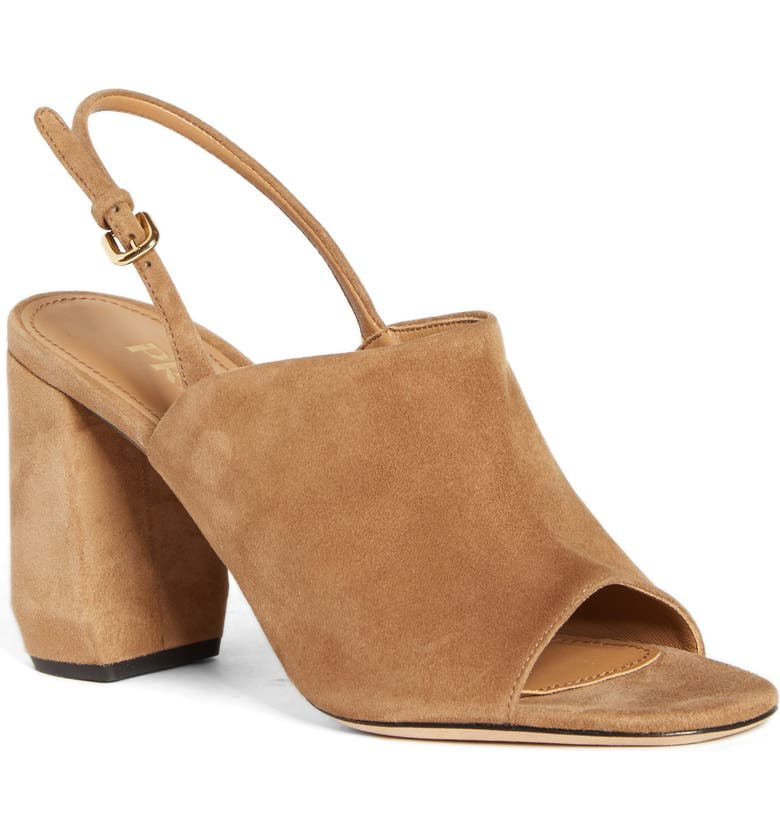 PRADA Shield Slingback Sandal, Main, color, CAMMELLO SUEDE