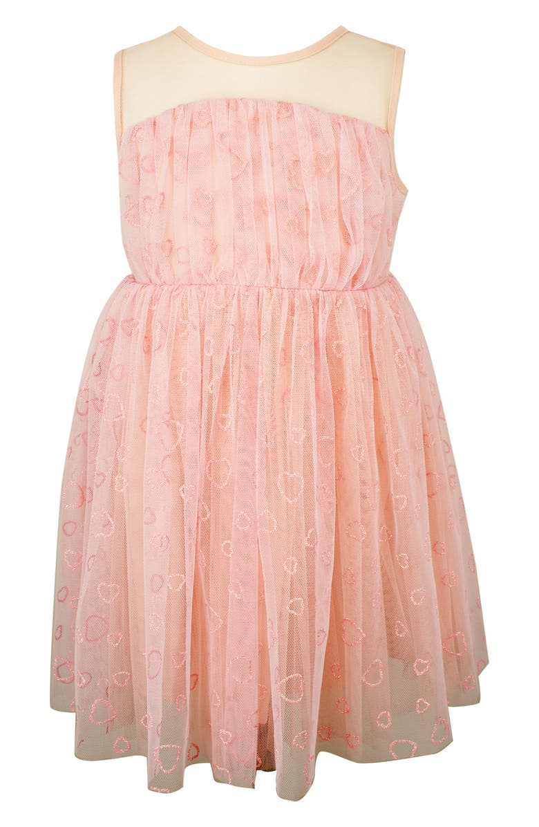 POPATU Glitter Heart Sleeveless Tulle Dress, Main, color, PEACH
