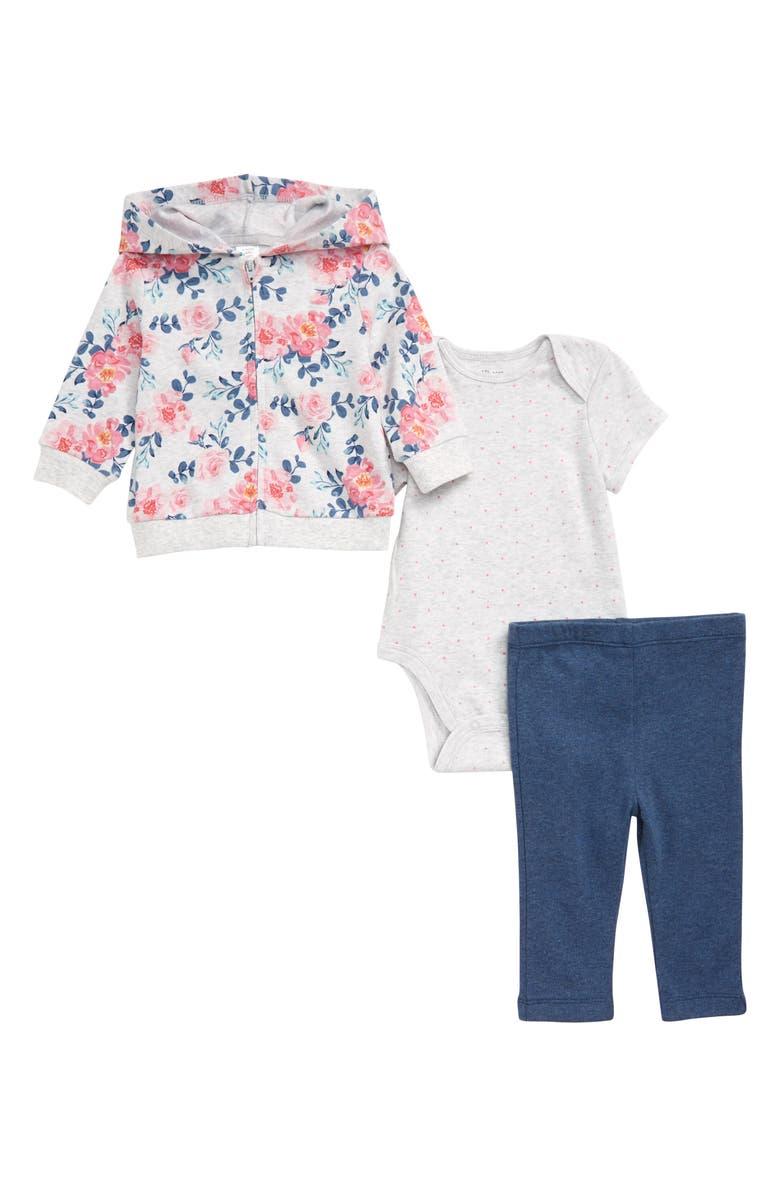 LITTLE ME Rose Zip Hoodie, Bodysuit & Leggings Set, Main, color, FLORAL