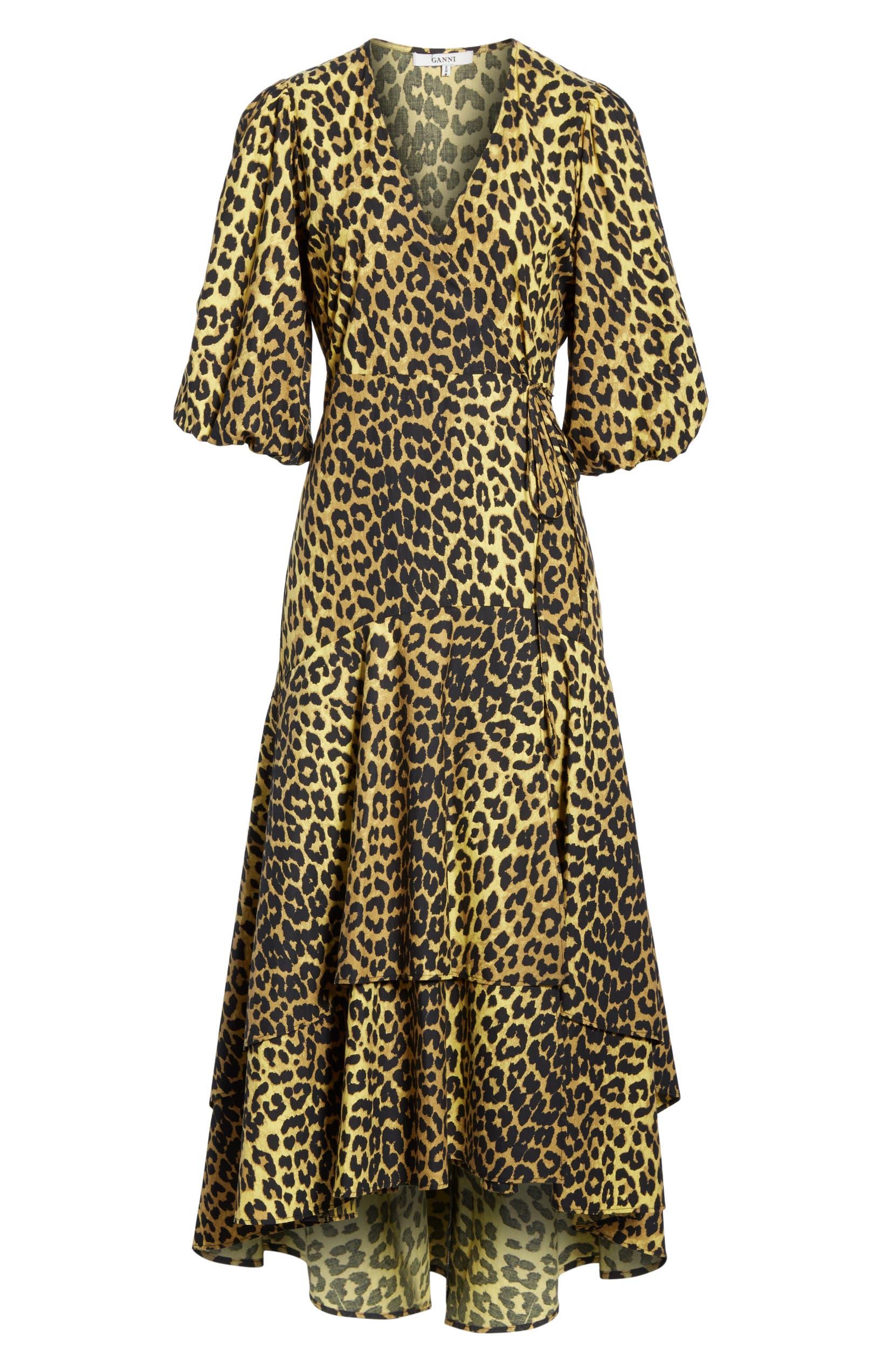 879dd838208 Ganni Leopard Print Cotton Wrap Dress | Nordstrom