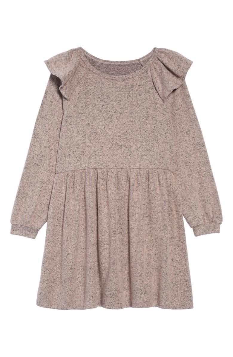 TUCKER + TATE Kids' Ruffle Shoulder Knit Dress, Main, color, PINK ENGLISH HEATHER