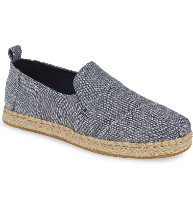 TOMS Deconstructed Alpargata Slip-On, Main, color, NAVY CHAMBRAY FABRIC
