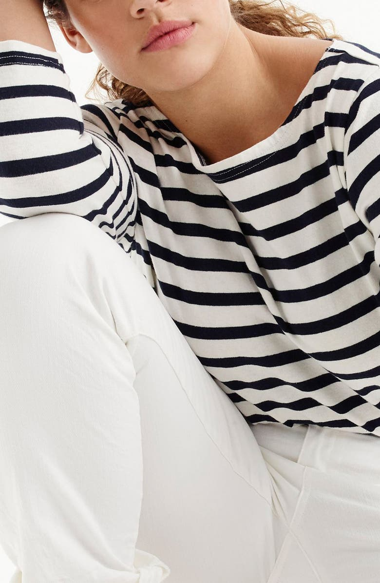J.CREW Structured Stripe Tee, Main, color, 101