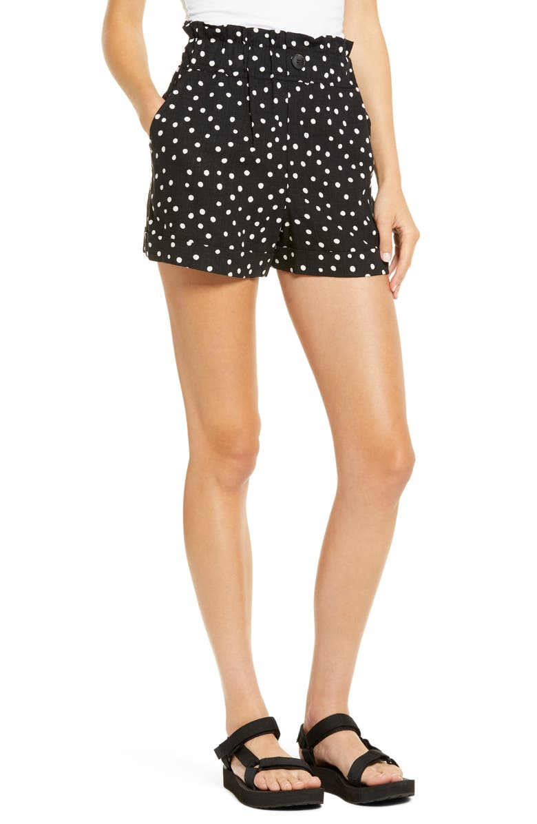 TOPSHOP Spot Paperbag Waist Turn-Up Shorts, Main, color, 002
