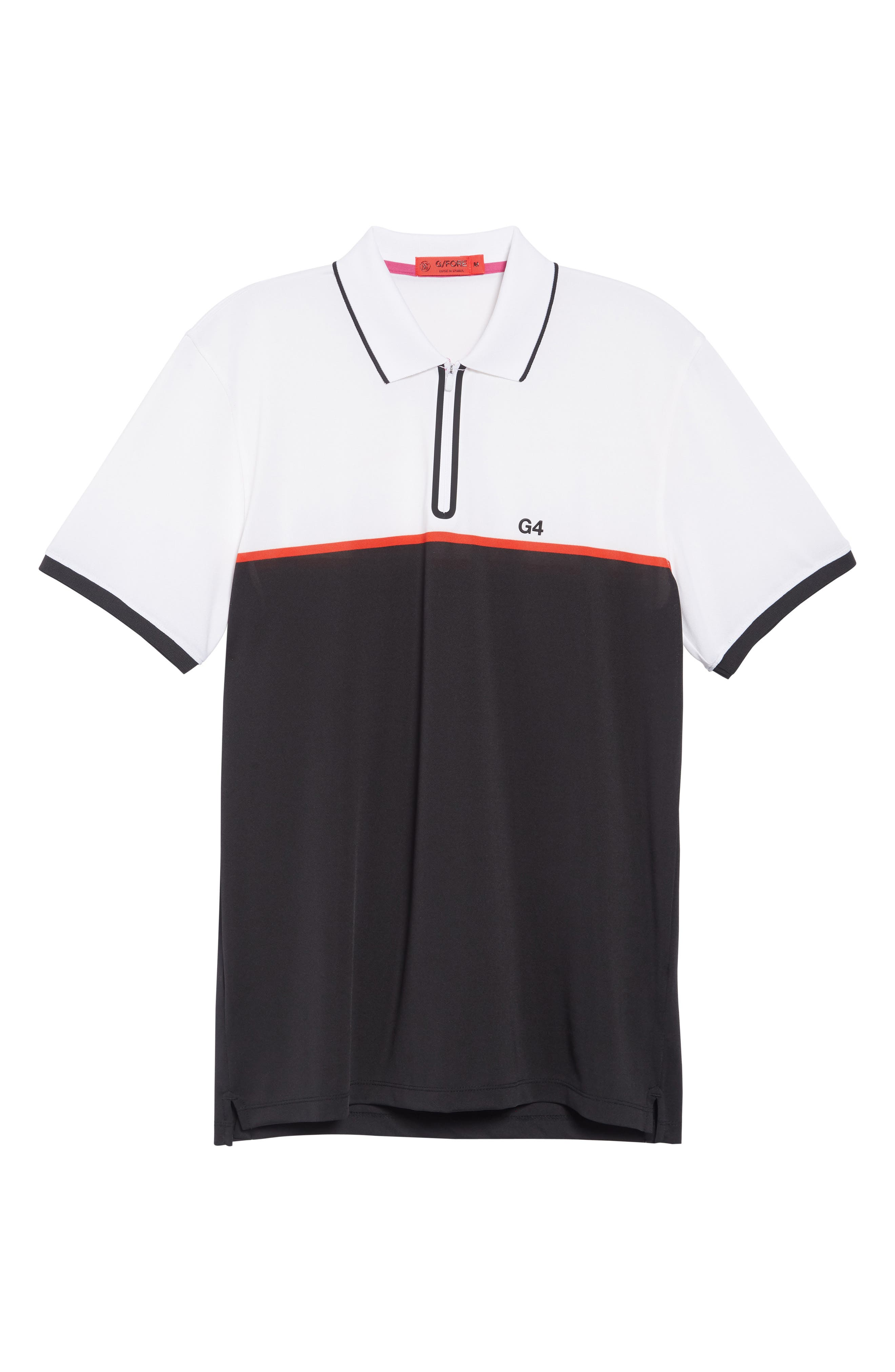 ,                             Zip Performance Golf Polo,                             Alternate thumbnail 6, color,                             BLACK INK / SNOW