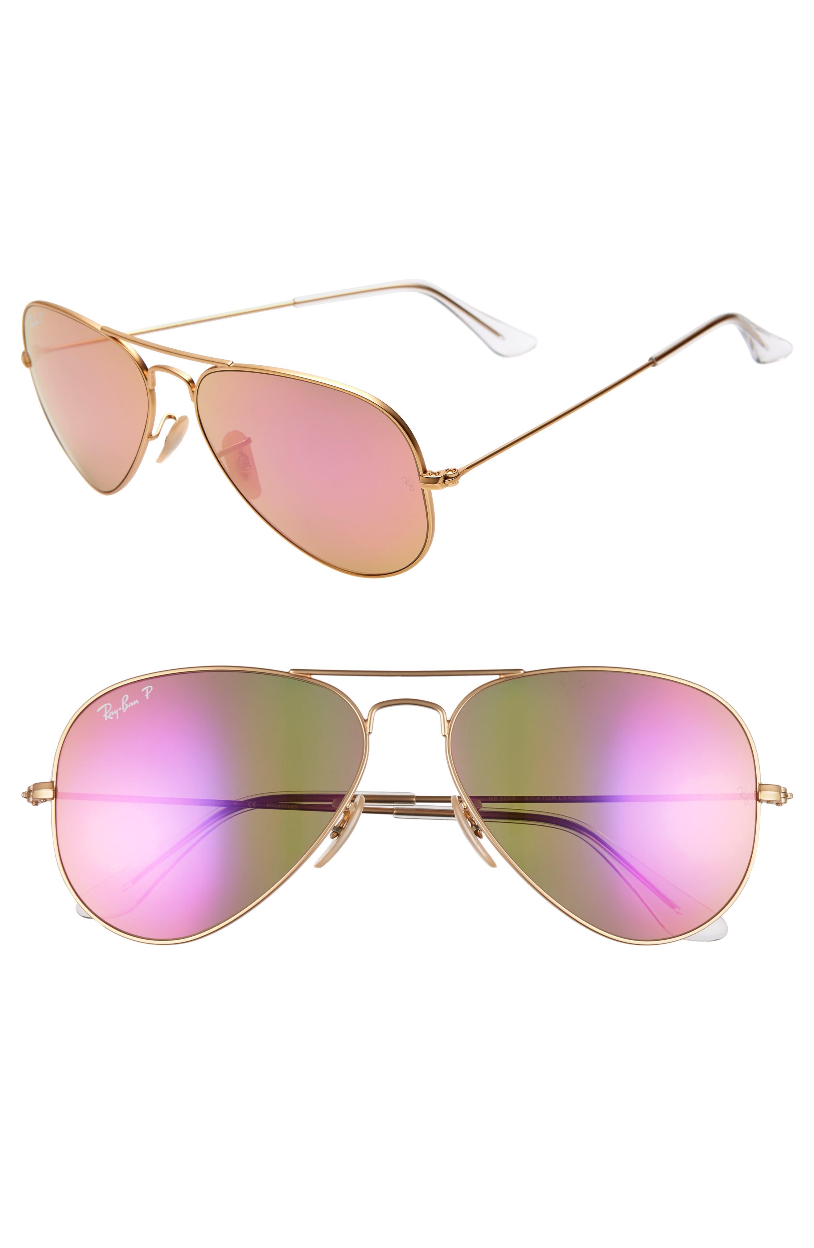 Ray-Ban Standard Icons 5m Mirrored Polarized Aviator Sunglasses - Gold/ Pink Mirror