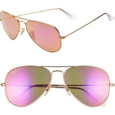 Ray-Ban Standard Icons 5m Mirrored Polarized Aviator Sunglasses - Gold/ Pink Mirror