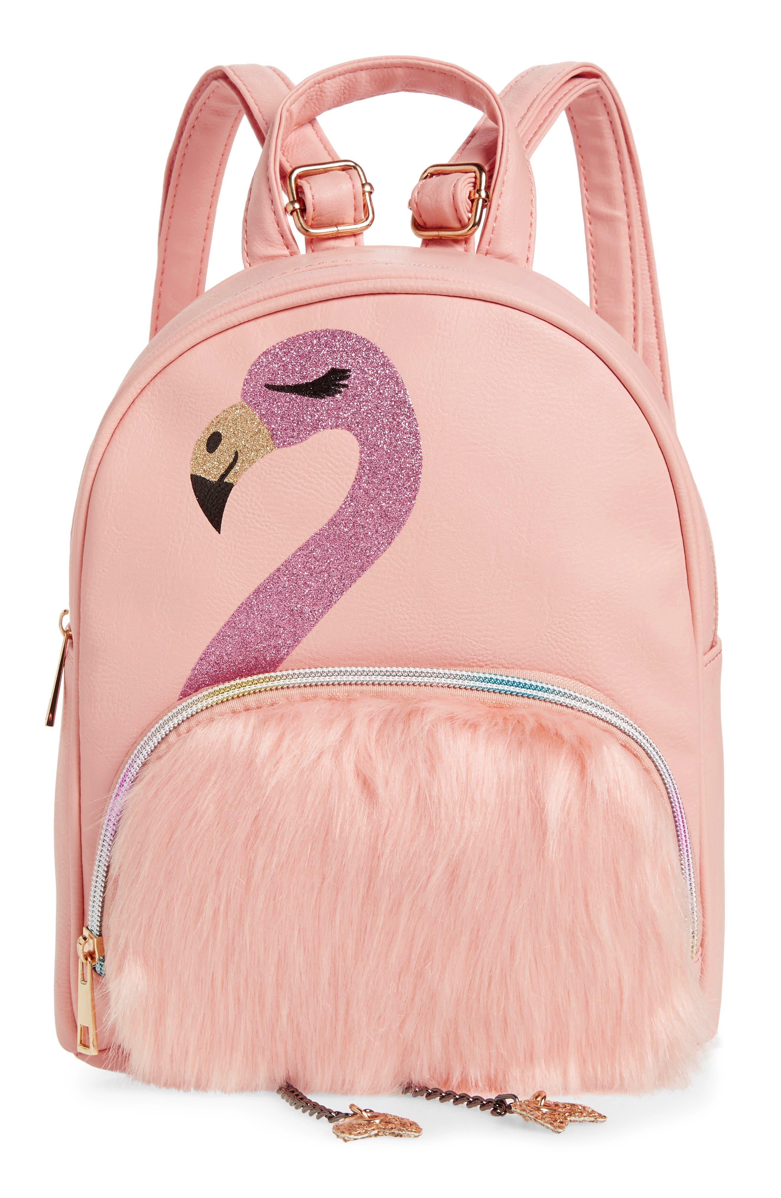 Mini Faux Fur Flamingo Backpack, Main, color, PINK