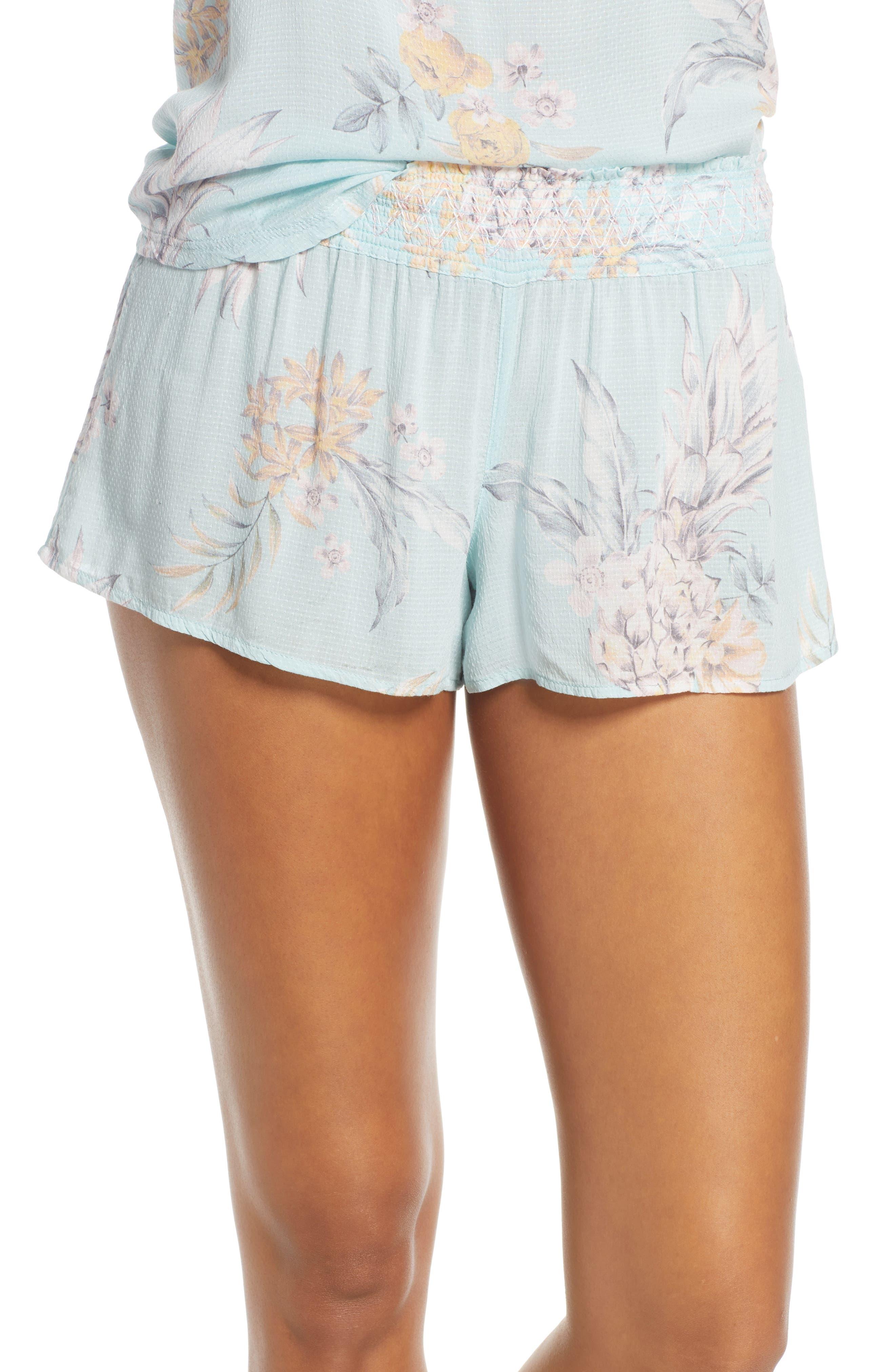 Pj Salvage Paradise Bound Dobby Weave Pajama Shorts, Green