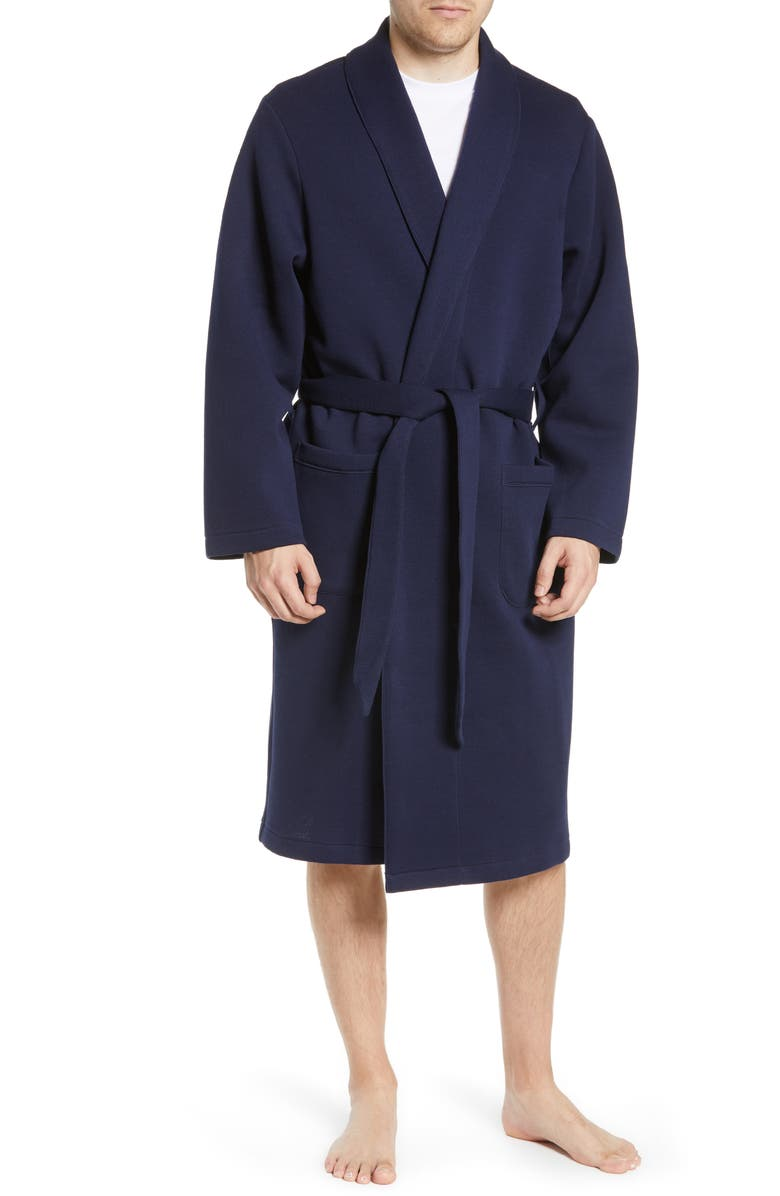 NORDSTROM MEN'S SHOP Piqué Robe, Main, color, NAVY PEACOAT